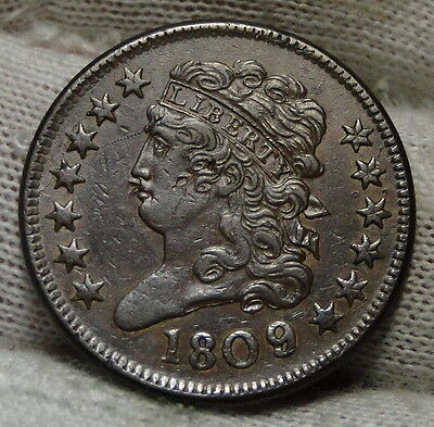 1809 Classic Head Half Cent - Very Nice Coin, Free Shipping (4830)
