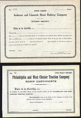 Ardmore And Llanerch St Railway Co, 1901 + Phila And W Chester Tr Co, Both Uniss