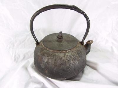 Very Early Antique Japanese Cast Iron Tea Kettle Pot Signed