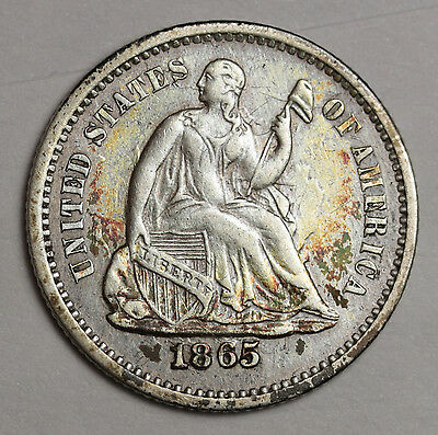1865-s Liberty Seated Half Dime.  A.U.  112674