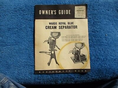 Wards Royal Blue Cream Separator Operating Manual Vintage Original