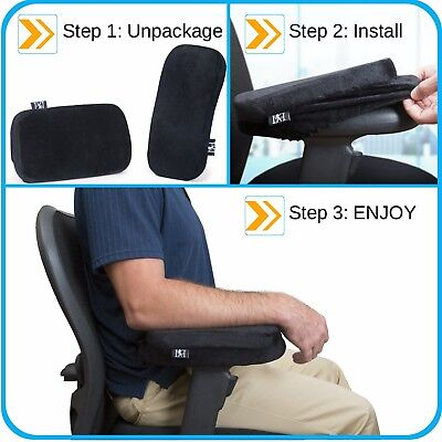 Memory Foam Arm Rest Pad -Home Work or Office Computer Desk Chair Black USA