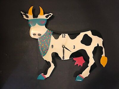 Vtg Signed Cindy Coats Laughing at the Moon Acrylic Cow Clock Retro Turquoise