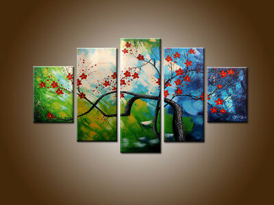 Framed 5 Panels Large Modern Flowers Abstract Oil Painting Canvas Wall Art Decor