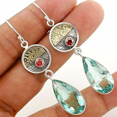 """Two Tone- Aquamarine 925 Solid Sterling Silver Earrings Jewelry 2 1/2"""" Long"""