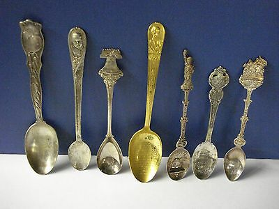 Antique Vintage Lot of 7 Silverplate Collector Spoons