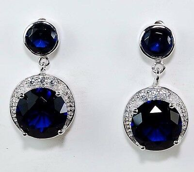 3CT Blue Sapphire & White Topaz 925 Solid Sterling Silver Earrings Jewelry