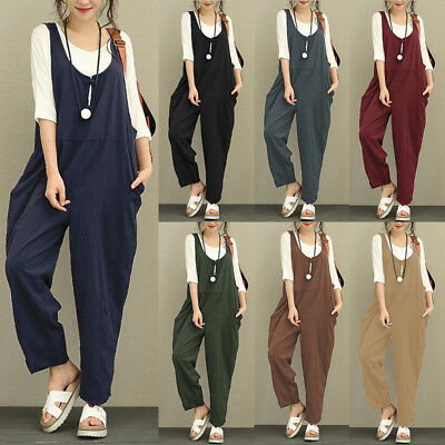 Women Ladies Sleeveless Loose Dungarees Jumpsuits Overall Long Trousers Pants