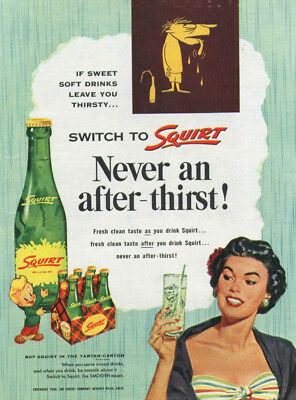 Never an after-thirst! Switch to Squirt ad 1954 woman