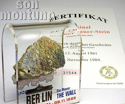 Medium BERLIN WALL PIECE Acrylic Display DIVIDED CITY Authentic German Artifact