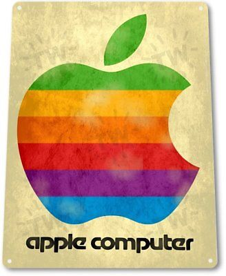 Apple Computer Logo Vintage Retro Tin Metal Sign