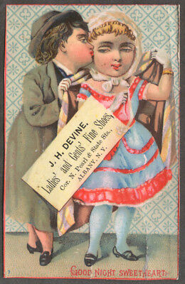 J H Devine Ladies & Gents Shoes Albany NY trade card couple smooches 1880s