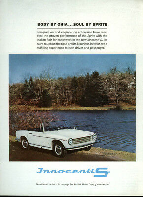Body by Ghia Soul by Austin-Healey Sprite Innocenti S sports car ad 1964