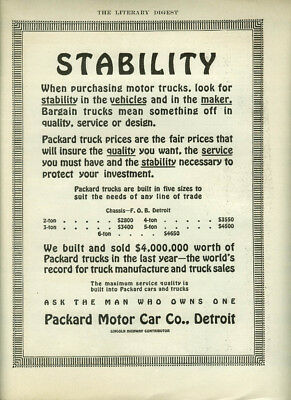 Stability when purchasing motor trucks Packard 2- to 6-ton truck ad 1913