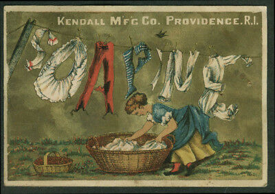 Kendall Soapine Soap trade card 1880s clothesline items spell name
