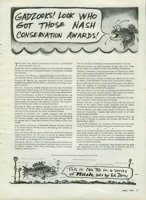 Gadzooks! Look Who Got Those Nash Conservation Awards ad by Ed Zern 1955