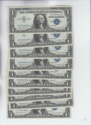 Silver Certificate $1 1957's 10 notes some may be cons. choice uncirculated