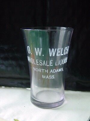 Antique Pre-Pro Etched Shot Glass O.W. Welch Wholesale Liquors North Adams, Mass
