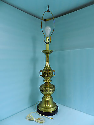 Gorgeous Large Brass Finish Heavy Metal 3 Way Lamp **very Nice! **