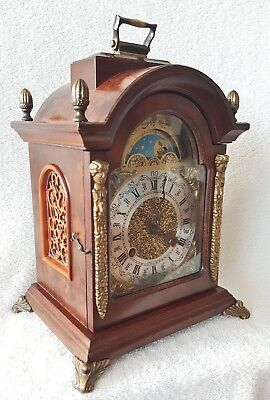 Hermle Clock Vintage Dutch Shelf Mantel Bracket Nut Wood 8 Day Moonphase