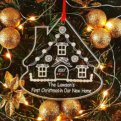Personalised First Christmas In Our New Home Gingerbread House Tree Decoration