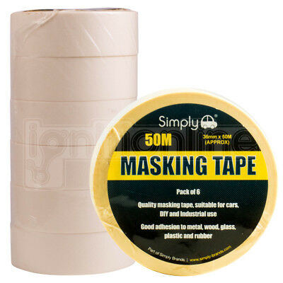 Simply Masking Tape DIY Painters Decorators Arts Crafts 36mm x 50M Pack of 6