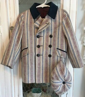 Vintage 1950's Boys DOUBLE Breasted Coat & Hat Blue Stripe Velvet Trim FIELDSTON