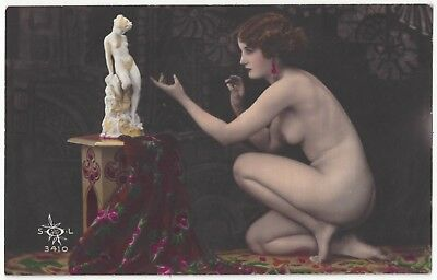 1920 French NUDE Photograph - Hand Painted, Youthful, Curvy Beauty