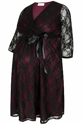 YoursClothing Plus Size Womens Bump It Up Maternity Lace Wrap Dress Black