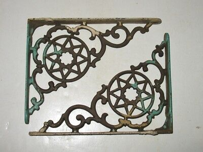 "lot of 2 Antique Vintage Cast Iron Shelf Brackets 6"" x 8""  Eastlake Cottage"