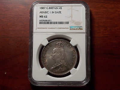 1887 Great Britain Double Florin large silver coin NGC MS-62