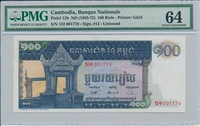 Bancque Nationale Cambodia   100 Riels nd(1963)  PMG  64