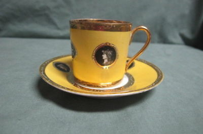 Antique Yellow with Cameo  Cup and Saucer with Crown over N mark