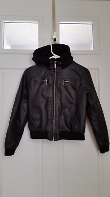 NEW! FULL TILT Youth XL Girls Faux Leather Sweatshirt Bomber Jacket Hood NWT