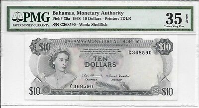 Bahamas, Monetary Authority - $10, 1968. PMG 35EPQ. RARE.