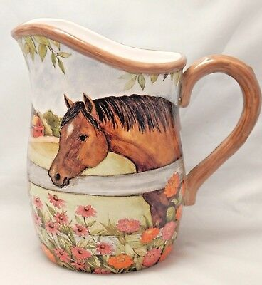 Certified International SUSAN WINGET HEARTLAND 88 Oz HORSE Pitcher - Exc Cond!