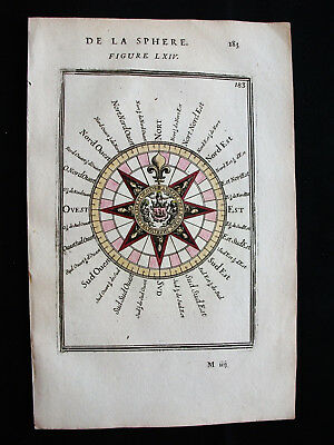 1683 MALLET - Original ASTRONOMIC IMAGE: WIND ROSE, COMPASS ROSE, WIND NAMES...