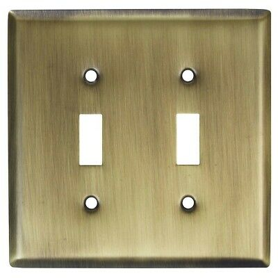 Basic Double Switch Wall Plate Antique Brass