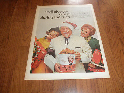COLONEL SANDERS-Kentucky Fried Chicken AD-1968-Original Print