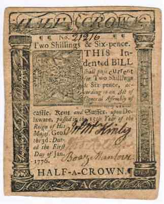 "January 1St 1776 -  Half Crown Colonial Delaware ""to Counterfeit Is Death"" - Vf"