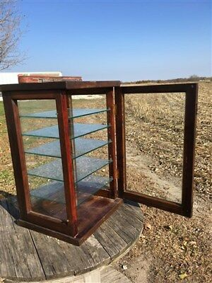 Display Case Countertop Country Store Cabinet Vintage Wood Glass Candy Clothing