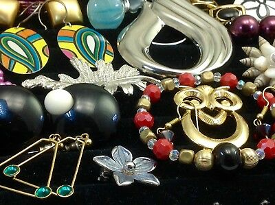 Large Lot Of Vintage~Now Costume Jewelry Earrings, Brooches, Bracelets... (E24)