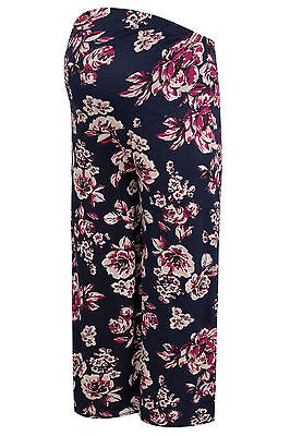 YoursClothing Plus Size Womens Bump It Up Maternity Floral Palazzo Trousers Navy