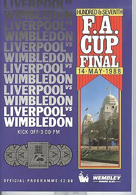 Liverpool FC v Wimbledon FC FA Cup Final 1988 PROGRAMME - POSTFREE to UK