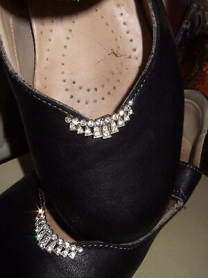 French Art Deco -  Pair of diamante crescent Shoe Clips -  Marked LW PARIS