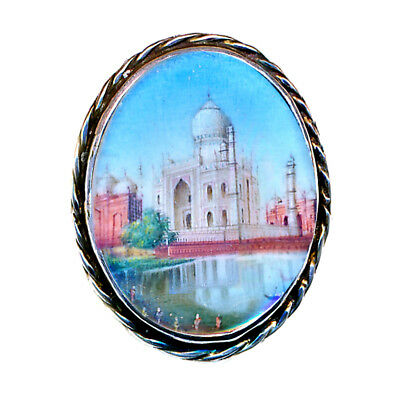 Button--19th C. Miniature Painting Of Taj Mahal Under Glass in Silver