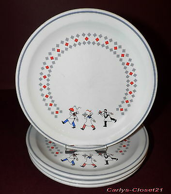 "BHS * 4 Pottery Side Plates * Bon Apetit Tableware Design * 6.75"" (17.5cm) Diam"
