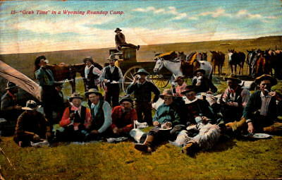 Postcard Grub Time in a Wyoming Roundup camp