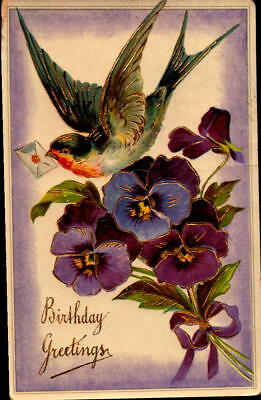 Postcard Birthday Greetings Violets embossed Bird 1912 Postmark
