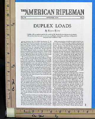 1938 DUPLEX LOADS rifle cartridge 3-Page MAGAZINE ARTICLE by Elmer Keith 7839